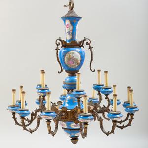 Continental Gilt-Metal-Mounted Porcelain Eighteen-Light Chandelier