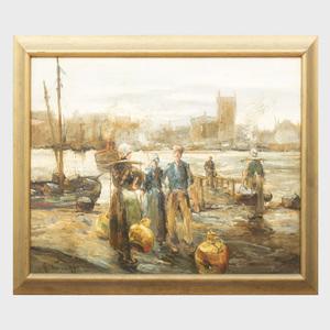 Attributed to Abel George Warshawsky (1883-1962): European Harbor Scene