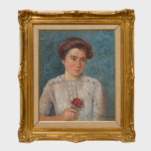 Attributed to Emile Dezaunay (1854-1948): Portrait à la rose