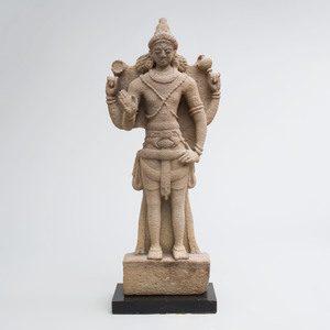 Fine South India Sandstone Figure of Vishnu, possibly Pallava Dynasty
