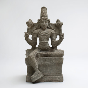 Indian Grey Granite Figure of a Seated Vishnu