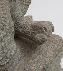 Indian Grey Granite Figure of a Seated Vishnu