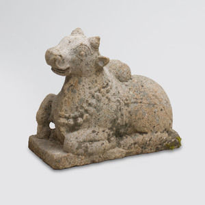 Indian Grey Granite Figure of Nandi