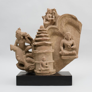 Indian Carved Sandstone Jain Architectural Fragment with Jinas, Apsara and a Makara