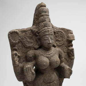 Indian Grey Granite Figure of Durga