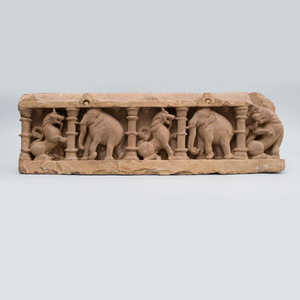 Indian Carved Sandstone Fragmentary Frieze of Elephants and Rampant Lions