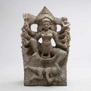 Indian White Granite Figure of Maishasura Mardini