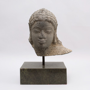 Indian Carved Grey Schist Fragmentary Head of Jina