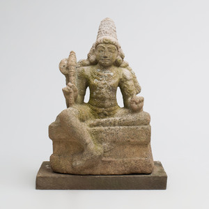 Indian Grey Granite Figure of Chandikeshwara
