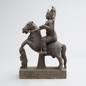 Indian Grey Granite Figure of a Nobleman on Horseback