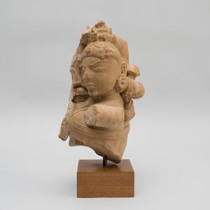 Indian Carved Sandstone Fragmentary Bust of a Goddess