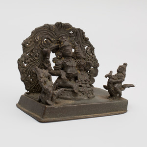 Indian Bronze Model of the Hindu Holy Family with Shiva, Parvati, Skanda and a Ganesha