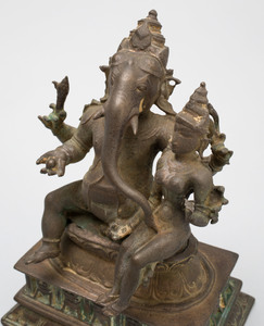 Indian Bronze Figure of a Ganesha with a Consort