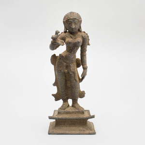 Indian Bronze Figure of a Maiden with a Parrot