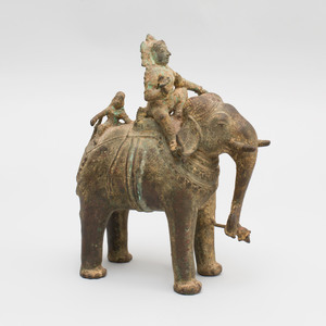 Indian Bronze Figure of a Mahout Astride an Elephant