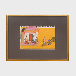 Bikaner School:  Krishna and Yashoda Illustration from a Bhagavata Purana Series, Rajasthan