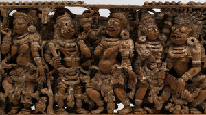 Indian Carved Hardwood Fragmentary Panel of Hindu Divinities