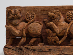 Indian Carved Hardwood Frieze Depicting Lions, Mysore