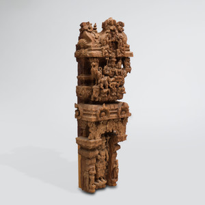 South India Carved Hardwood Model of Gopuram