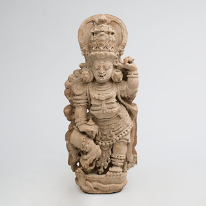 South India Carved Hardwood Guardian Dvarapala, Kerala