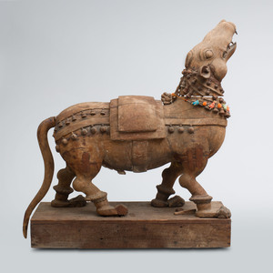 Indian Hardwood Carving of a Mythical Beast, Mysore