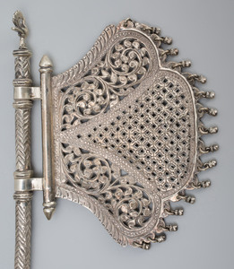 Indian Brass Betel Nutcracker and Indian Silvered-Metal Strainer