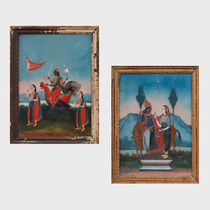 Two Indian School Reverse Paintings on Glass