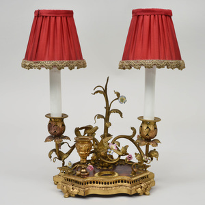 Louis XV Style Gilt-Bronze-Mounted Porcelain Encrier, fitted as a Two-Light Table Lamp
