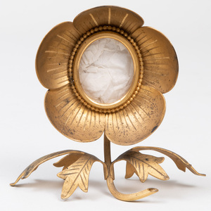 French Gilt-Metal Flower Form Picture Frame