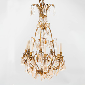 Louis XV Style Gilt-Metal Mounted Rock-Crystal Twelve Light Chandelier
