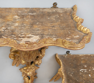 Pair of Continental Giltwood Wall Brackets with Bird Form Supports
