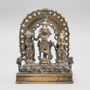 Indian Brass Shrine of Krishna Fluting (Venugopala) with Gopis and Cow Herd