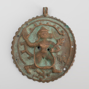 Indian Bronze Circular Plaque of Hanuman