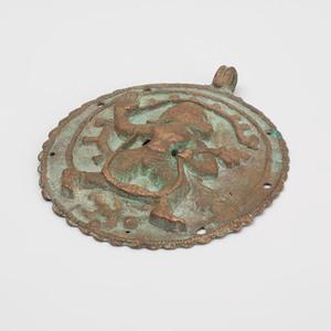 Indian Bronze Circular Plaque of Hanuman