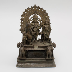 South India Bronze Model of Santhanagopala Vishnu, Lakshmi, Children and Rama, Kerala