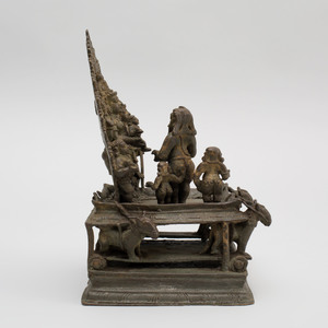 South India Bronze Model of Santhanagopala Vishnu, Lakshmi, Children and Rama, Kerala