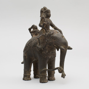 South India Bronze Figure of Aiyanar Astride an Elephant, Tamil Nadu