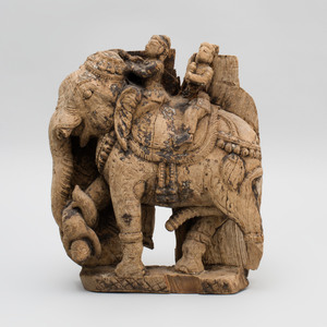 South India Carved Wood Battle Elephant with Two Aiyanar, Tamil Nadu