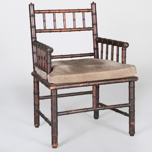 English Faux Bamboo Armchair