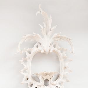 Elaborate George III Style Pale Grey Painted Mirror