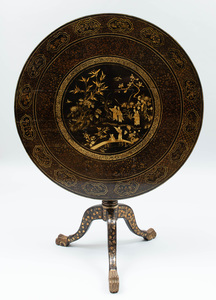 Chinese Export Black Lacquer and Parcel-Gilt Center Table