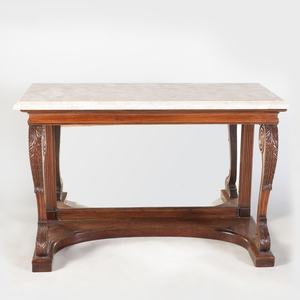 Pair of Regency Carved Padouk Consoles