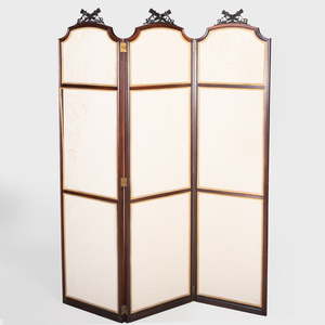Napoleon III Brass-Mounted Mahogany Three Panel Screen