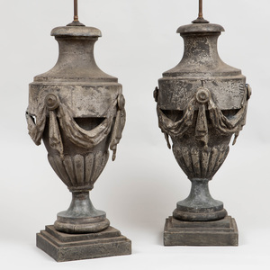 Pair of Large Zinc Urns, Mounted as Lamps