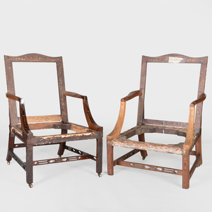 Pair of George III Style Mahogany Gainsborough Armchairs