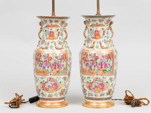 Pair of Chinese Rose Medallion Porcelain Baluster Vases, Mounted as Lamps