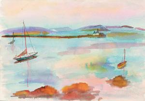 Attributed to Murray Hantman (1904-1999):  Sailboats at Anchor; Fishing  Wharf; and  Woods