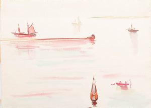 Murray Hantman (1904-1999):  Fog in Owls Head; Boats at Breakwater; and Owl's Head