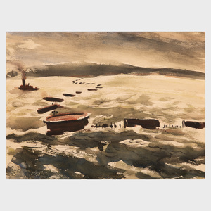 William Thon (1906-2000): The Herring Fleet; and Boat Studies: Four  Works