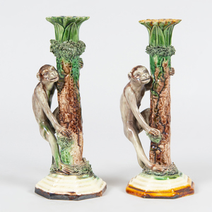 Pair of José Cunha Majolica Pottery Monkey Form Candlesticks